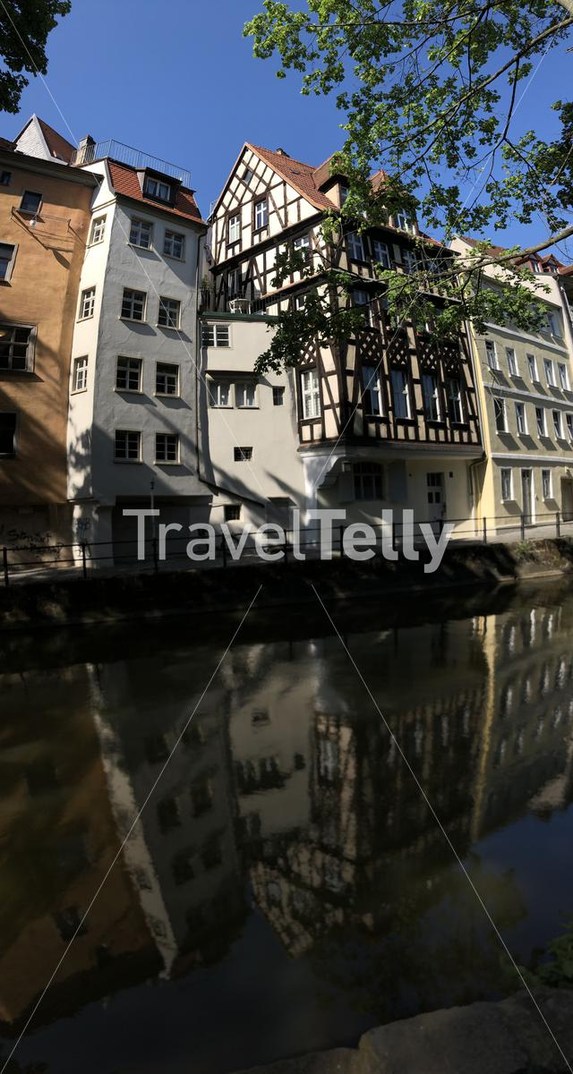Housing next to the regnitzarm river in Bamberg Germany