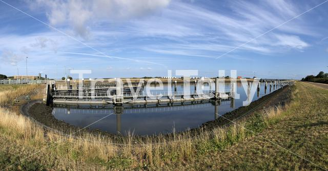 Panorama from the Lorentz Locks in Kornwerderzand, Friesland The Netherlands
