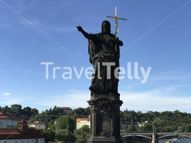Statue on the Charles bridge in Prague Czech Republic