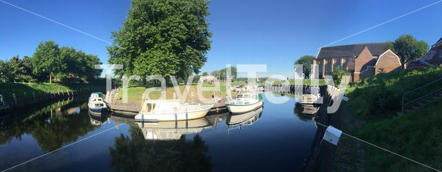 Panorama from the canal and boats in Vollenhove The Netherlands