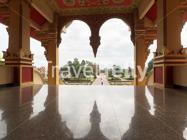 View a buddhist Temple next to the Pha That Luang in Vientiane Laos