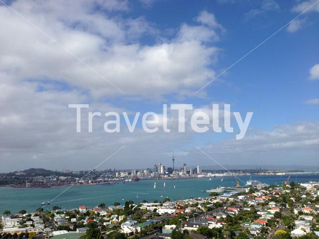 Auckland Skyline from Mount Victoria in Denvonport, New Zealand