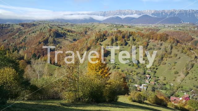 Mountain landscape around Piatra craiului in Romania