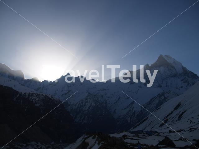 Sunrise behind the mountains at Annapurna Conservation Area Nepal