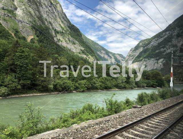 Landscape around Tenneck seen from the train in Austria