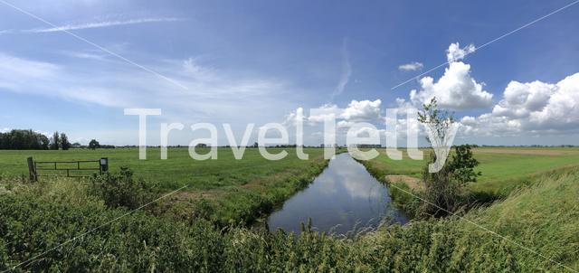 Frisian panoramic landscape in The Netherlands