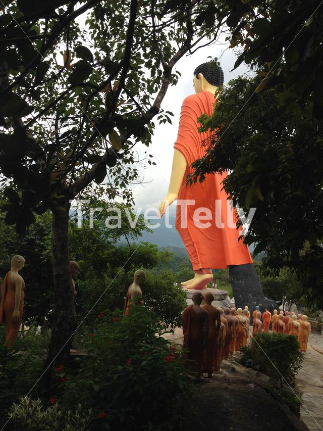 World's Tallest Walking Buddha at the Ranawana Temple in Kandy Sri Lanka