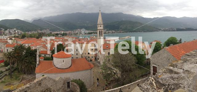Panorama from the old town of Budva with the Saint Ivan Church in Montenegro