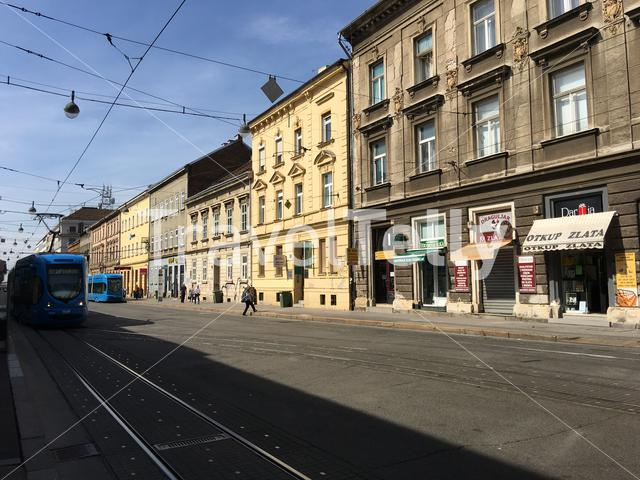 Trams at the Draškovićeva street in Zagreb Croatia