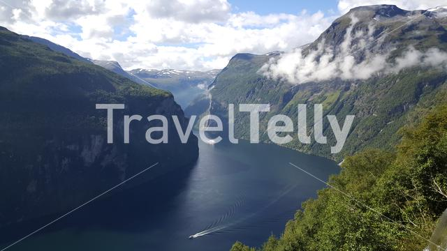 Cruise ships at the water around the Geiranger Fjord in Norway