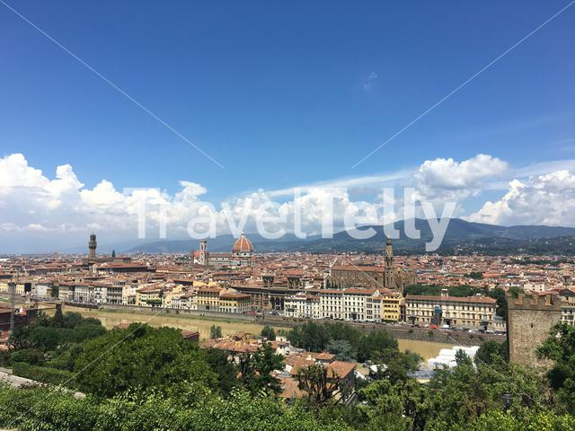 View from the Giardino delle Rose terraces of Florence Italy