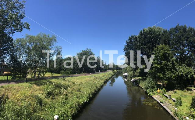 Canal in Westergeest, Friesland, The Netherlands