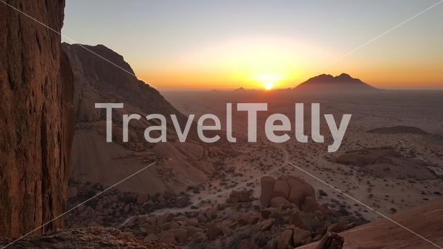 Sunset at the Spitzkoppe in the Namib desert of Namibia