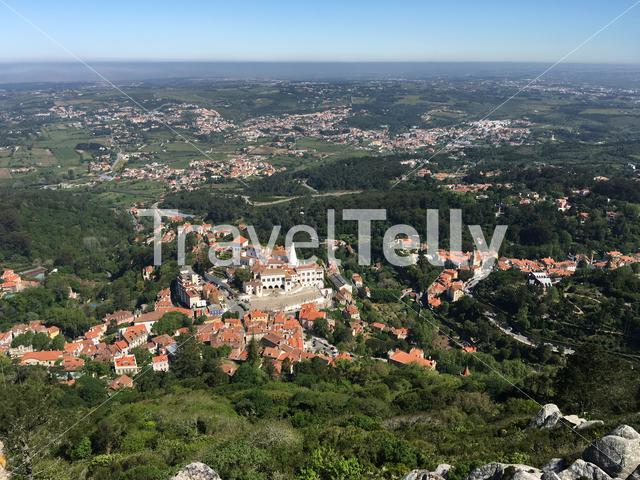 View from the Castelo dos Mouros at Palace of Sintra in Portugal