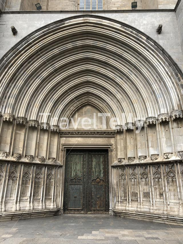 Side door of the Cathedral of Girona in Catalonia, Spain