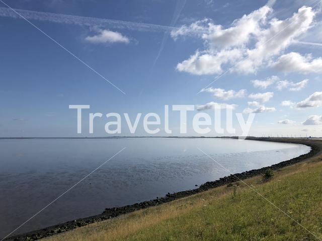 The afsluitdijk at the wadden sea in The Netherlands