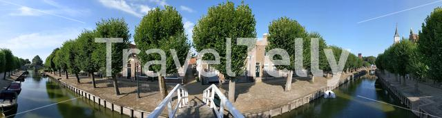 Panorama from a canal in Sloten, Friesland The Netherlands