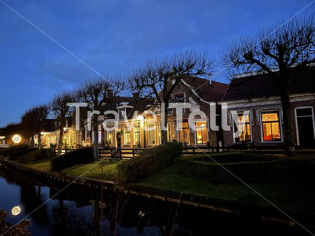 Canal at night in IJlst Friesland The Netherlands