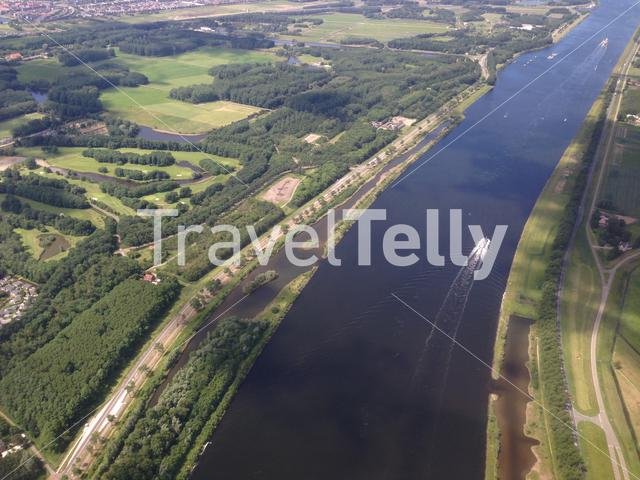Flying above North Sea Canal in The Netherlands towards Schiphol airport