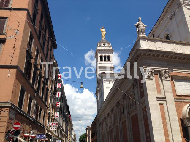 Via Vicenza street and the Sacred Heart of Jesus at the Praetorian Barracks chuch in Rome Italy