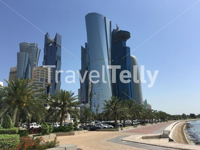 Skyscrapers and the Corniche in Doha Qatar