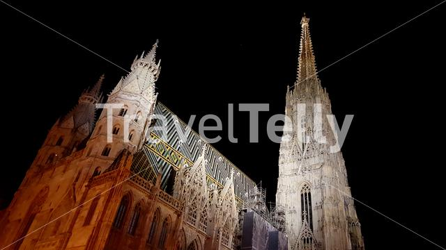 Stephens Cathedral Vienna at Night