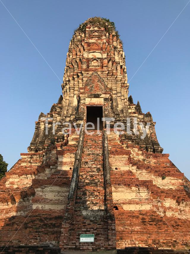 Prang in Khmer style at the Wat Chaiwatthanaram a Buddhist temple in Ayutthaya Thailand