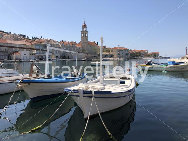 Boats in Sutivan town on Brac island in Croatia