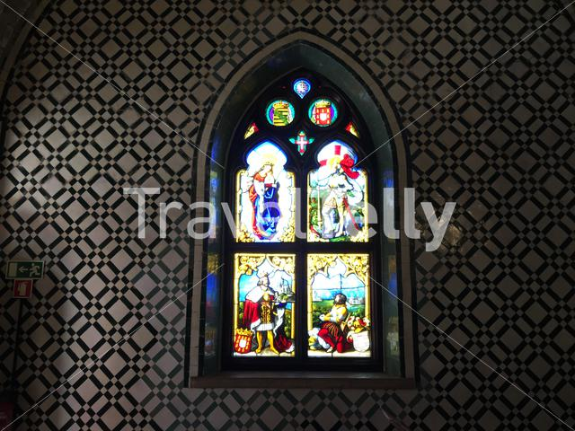 Window at the chapel in the Pena Palace in Sintra Portugal