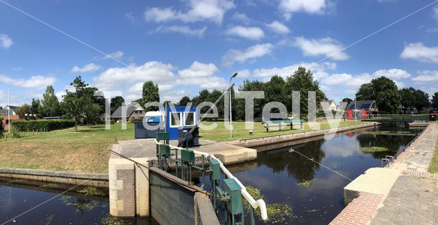 Panorama from a canal lock in Oosterwolde, Friesland The Netherlands