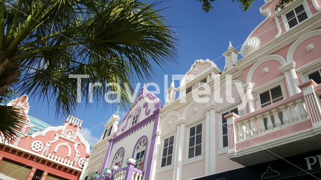 Colourful buildings in the streets of Oranjesstad Aruba
