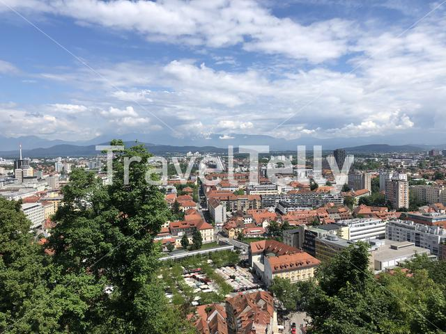 View from the funicular railway to Ljubljana Castle,