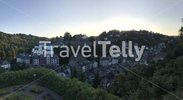 Panorama from the town monschau in Germany during sunset