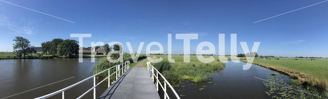 Bridge over a canal in Friesland, The Netherlands
