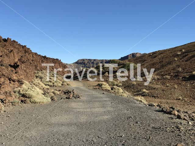 Hiking path around Mount Teide a volcano on Tenerife in the Canary Islands