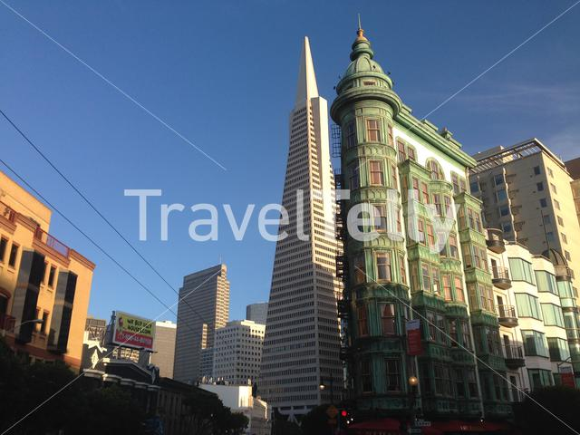 Transamerica Pyramid and the Columbus Tower also known as the Sentinel Building in San Francisco