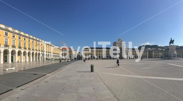 Panorama from the Praça do Comércio (Commerce Square) in Lisbon Portugal