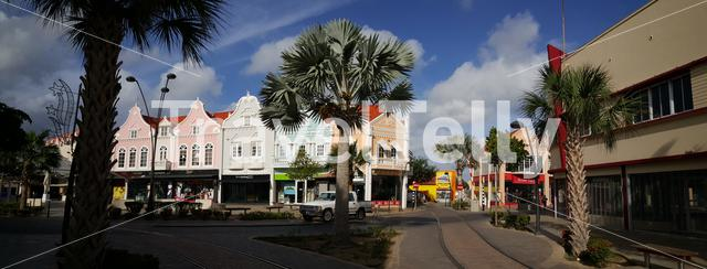 Panorama from colourful buildings in the streets of Oranjesstad Aruba