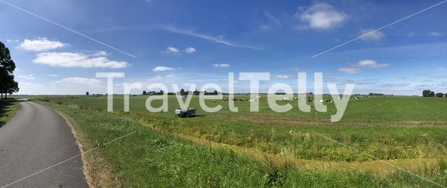 Panoramic landscape from around It Heidenskip in Friesland The Netherlands