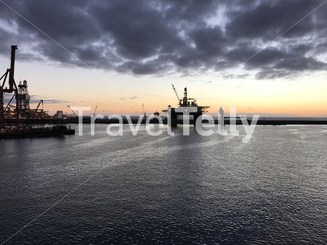 Sunrise in the harbour of Las Palmas Gran Canaria