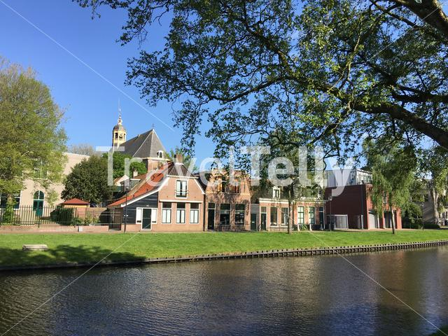 Het bolwerk with the Martini church at the background in Sneek, Friesland The Netherlands