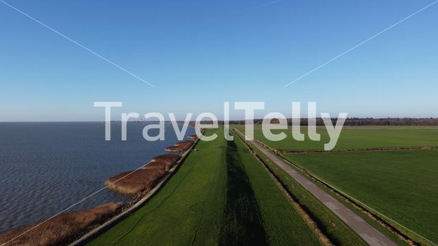 Aerial view from around Rijs in Friesland, The Netherlands,