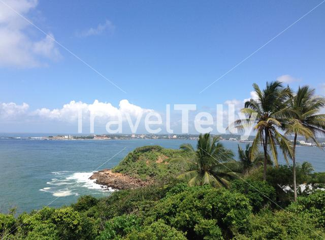 Galle city view from Japanese Peace Pagoda In Rumassala Sri Lanka