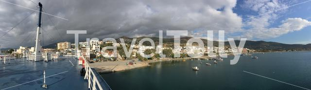 Panorama from the ferry in the harbour of Marmari Greece