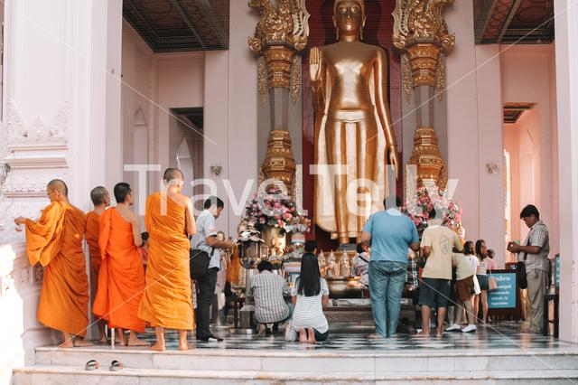 Monks at the Temple at Thailand