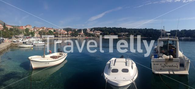 Panorama from cavtat harbour with boats in Croatia