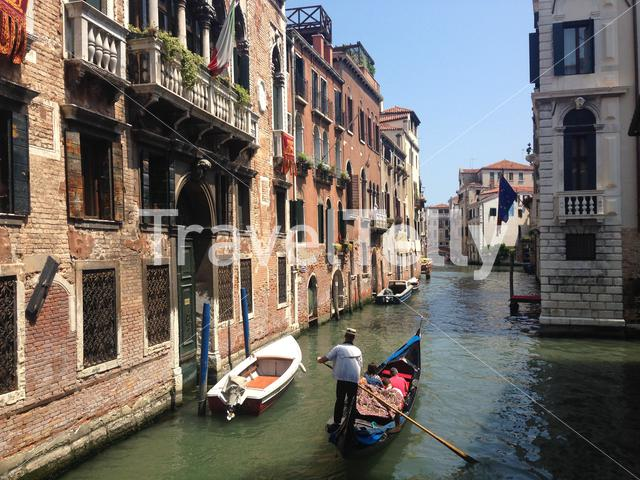 Gondola in the canals of Venice italy