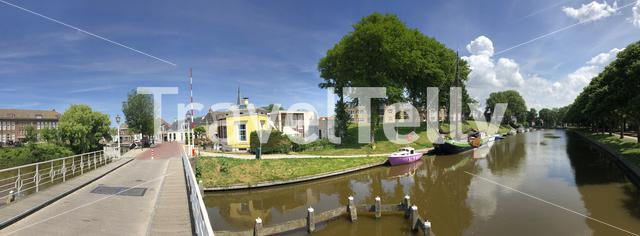 Panorama from a canal around Harlingen, Friesland The Netherlands