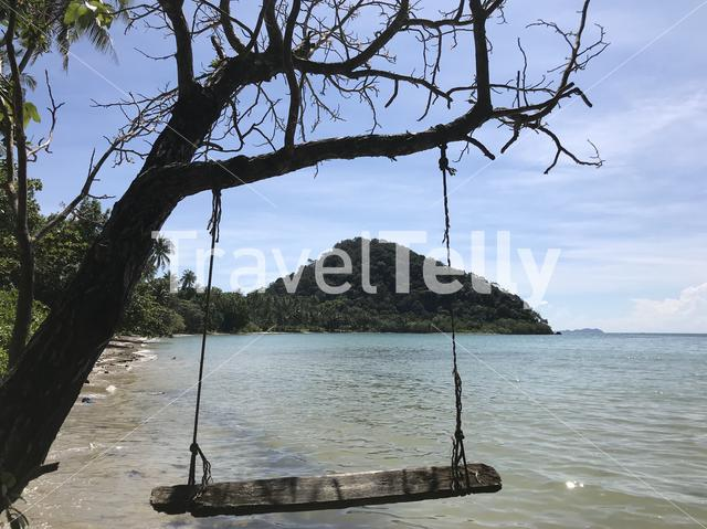 Tree swing on Long Beach at Koh Chang Island in Thailand