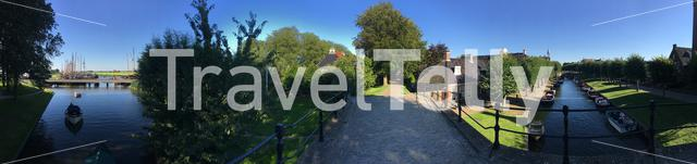 Panorama from the sleattermer gat and lindengracht in Sloten Friesland The Netherlands